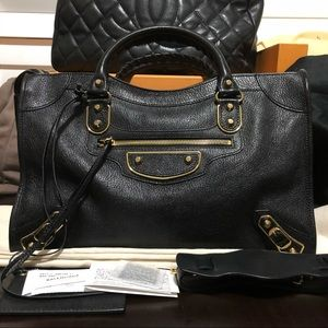 New balenciaga golden city edge black gold